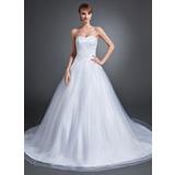 De baile Coração Cauda longa Tule Vestido de noiva com Renda Bordado (002015154)