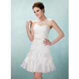 Vestidos princesa/ Formato A Coração Curto/Mini Tafetá Vestido de boas vindas com Pregueado Bordado (022009131)