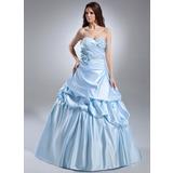 Платье для Балла В виде сердца Церемониальный шлейф Атлас Пышное платье с Рябь Бисер Цветы (021015628)