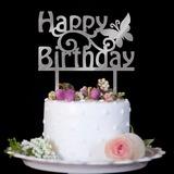 Borboleta bonita/Feliz aniversário Acrílico Decorações de bolos (Vendido em uma única peça) (119187348)