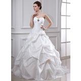 De baile Coração Cauda longa Tafetá Vestido de noiva com Pregueado Bordado fecho de correr (002001719)