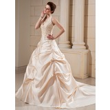 Ball-Gown Halter Cathedral Train Satin Wedding Dress With Embroidered Beading (002000678)