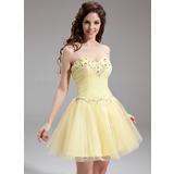 Vestidos princesa/ Formato A Coração Curto/Mini Tule Vestido de boas vindas com Bordado (022016306)