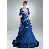 A-Line/Princess Strapless Sweep Train Taffeta Quinceanera Dress With Ruffle Beading Appliques Lace Sequins (021015937)