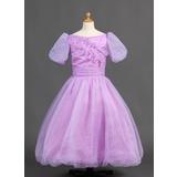 Платье для Балла Длина до пола Нарядные платья для девочек - Органза/Атлас Короткие Рукава Бато с Рябь (010015886)