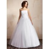 Платье для Балла Без лямок Длина до пола Тафта Тюль Свадебные Платье с Рябь Бисер (002000041)