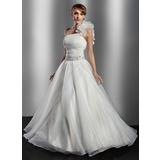 De baile Um ombro Longos Organza de Vestido de noiva com Pregueado Bordado fecho de correr Lantejoulas (002014776)