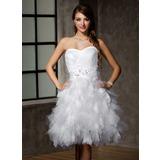 Vestidos princesa/ Formato A Coração Coquetel Tule Vestido de noiva com Renda Bordado Lantejoulas Curvado Babados em cascata (002012778)
