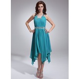 A-Line/Princess Square Neckline Asymmetrical Chiffon Holiday Dress With Ruffle Beading (020036575)