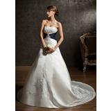 Платье для Балла В виде сердца Церковный шлейф Атлас Свадебные Платье с Вышито Лента Бисер (002004584)