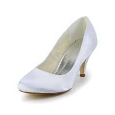 Vrouwen Satijn Cone Heel Closed Toe Pumps (047034353)