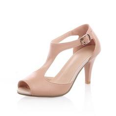 Konstläder Stilettklack Sandaler Peep Toe med Spänne skor (087050507)