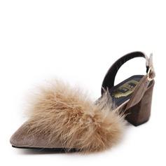 Frauen Veloursleder Stämmiger Absatz Absatzschuhe Geschlossene Zehe mit Pelz Schuhe (085143616)
