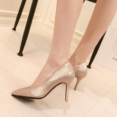 Women's Patent Leather Stiletto Heel Pumps Closed Toe With Sparkling Glitter shoes (085105627)