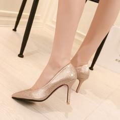 Женщины Лакированная кожа Высокий тонкий каблук На каблуках Закрытый мыс с Мерцающая отделка обувь (085105627)