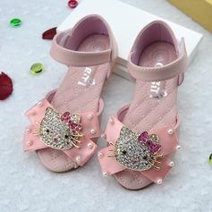 Jentas Titte Tå Leather flat Heel Sandaler Flate sko Flower Girl Shoes med Bowknot Velcro Crystal (207111958)