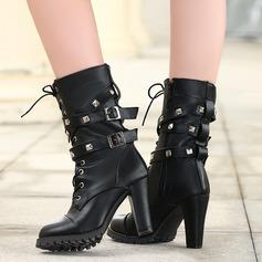Женщины PU Устойчивый каблук Ботинки Сапоги до середины голени с заклепки пряжка Застежка-молния Шнуровка обувь (088130797)