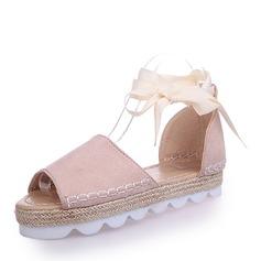 Женщины Замша Плоский каблук Сандалии На плокой подошве с Шнуровка обувь (087154154)