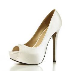 Kvinnor Plast Stilettklack Pumps Peep Toe skor (117153671)