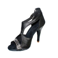 Women's Satin Heels Sandals Latin With Rhinestone Dance Shoes (053026457)