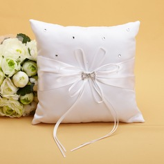 Delicate Ring Pillow in Satin With Ribbons/Rhinestones (103038622)