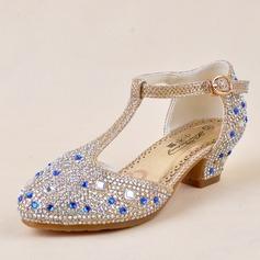 Jentas Lukket Tå Leather lav Heel Pumps Flower Girl Shoes med Spenne Rhinestone (207141493)