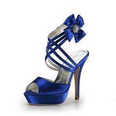 Satijn Stiletto Heel Sandalen Plateau Slingbacks met Strass schoenen (087015200)
