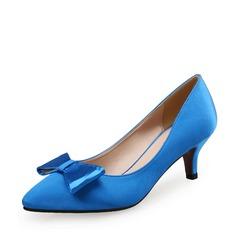 Женщины Шелковые Высокий тонкий каблук На каблуках с бантом обувь (085113638)