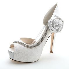 Kvinnor Spetsar Stilettklack Peep Toe Pumps Sandaler med Strass Satäng Blomma (047054644)