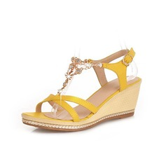 Konstläder Kilklack Sandaler Pumps Peep Toe Slingbacks med Strass Spänne skor (087048846)