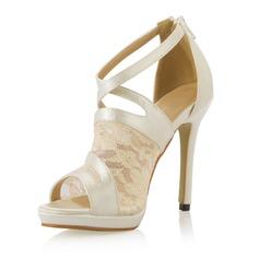 Kvinder Satin Stiletto Hæl Kigge Tå Pumps sandaler med Syning Blonde (047054103)