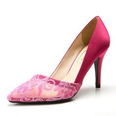Женщины Атлас Высокий тонкий каблук На каблуках Закрытый мыс с Цветок обувь (085059863)