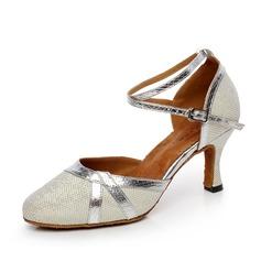 Женщины кожа На каблуках На каблуках Бальные танцы с Ремешок на щиколотке Обувь для танцев (053072071)