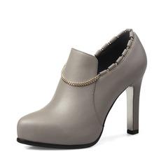 Женщины кожа Высокий тонкий каблук Полусапоги обувь (088092761)