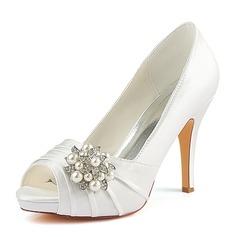 Women's Silk Like Satin Stiletto Heel Peep Toe Pumps With Ruffles Crystal Pearl (047185257)