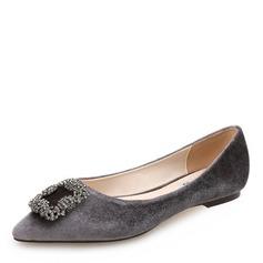 Женщины Замша Плоский каблук На плокой подошве Закрытый мыс с горный хрусталь пряжка обувь (086173046)