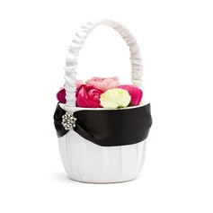 Classic Flower Basket in Satin With Rhinestones (102018056)