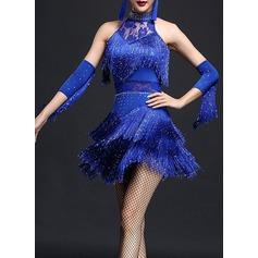 Женщины Одежда для танцев полиэстер Латино Платья (115087950)