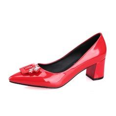 Женщины Лакированная кожа Устойчивый каблук На каблуках Закрытый мыс обувь (085074494)