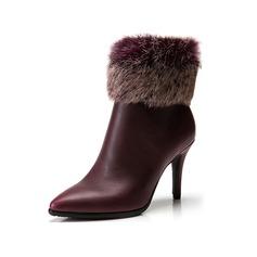 Mulheres Couro Salto agulha Plataforma Bota no tornozelo com Pele sapatos (088098048)
