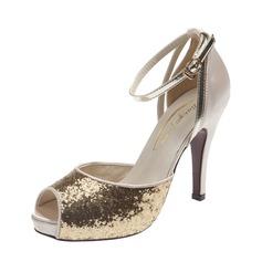 кожа Высокий тонкий каблук Сандалии Открытый мыс с Мерцающая отделка пряжка обувь (087059846)