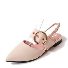 Женщины PVC Плоский каблук Сандалии На плокой подошве Закрытый мыс Босоножки с пряжка обувь (086153766)
