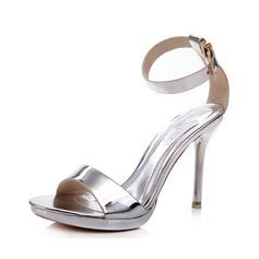 Konstläder Stilettklack Sandaler Plattform med Spänne skor (087052690)