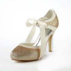 Women's Satin Sparkling Glitter Cone Heel Closed Toe Platform Pumps (047024507)
