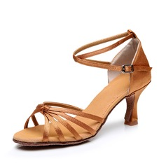 Mulheres Cetim Saltos Sandálias Latino com Correia de Calcanhar Sapatos de dança (053006988)