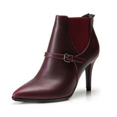 Женщины кожа Высокий тонкий каблук Платформа Полусапоги с пряжка Соединение врасщеп обувь (088098054)