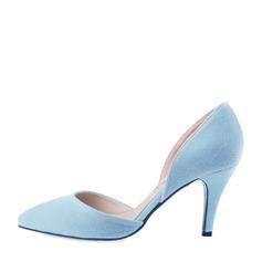 Femmes Suède Talon stiletto Escarpins Bout fermé chaussures (085059870)