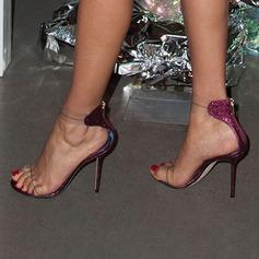 Женщины Мерцающая отделка PVC Высокий тонкий каблук Сандалии На каблуках Открытый мыс с Застежка-молния обувь (087157088)