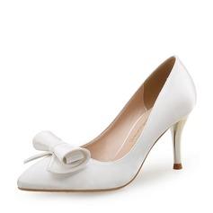 Женщины Шелковые Высокий тонкий каблук На каблуках Закрытый мыс с бантом обувь (085113644)