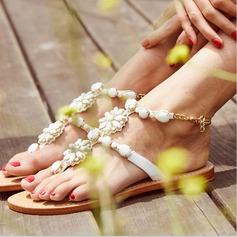 Mulheres Couro Sem salto Sandálias Beach Wedding Shoes com Pérola Imitação Strass (047125413)